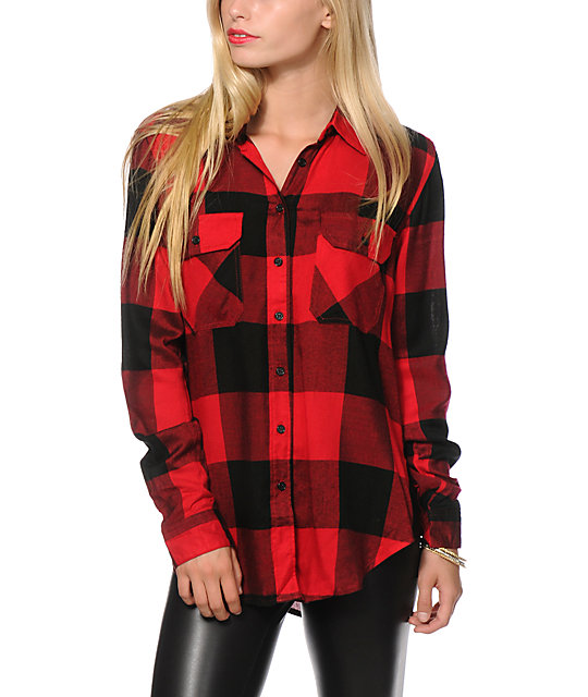 Thread supply oversized red plaid shirt at zumiez pdp Womens red tartan plaid shirt
