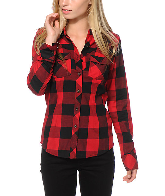 thread amp supply stretch red plaid shirt