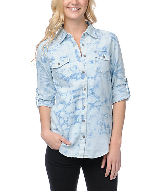 Thread and Supply Acid Wash Denim Button Up Shirt
