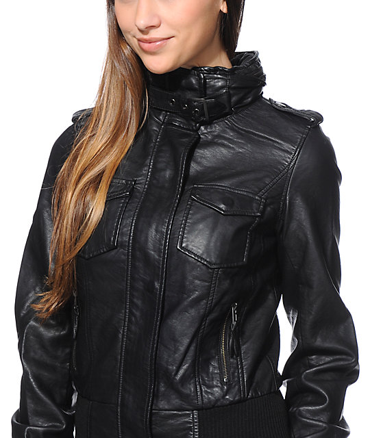 Thread and Supply Black Faux Leather Hooded Bomber Jacket