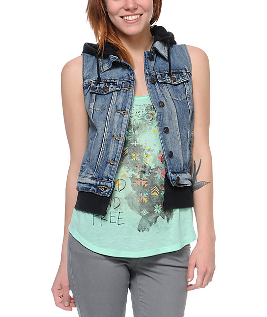 Thread and Supply Black Hooded Denim Vest