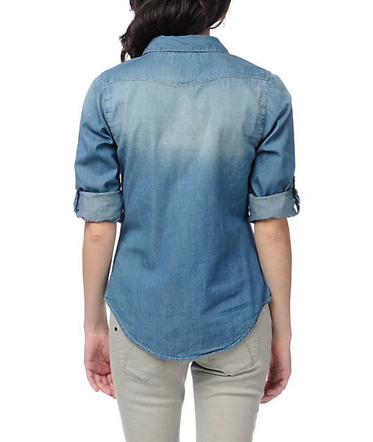 Thread and Supply Denim Chambray Button Up Shirt