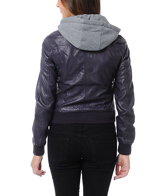 Thread and Supply Purple Faux Leather Hooded Jacket
