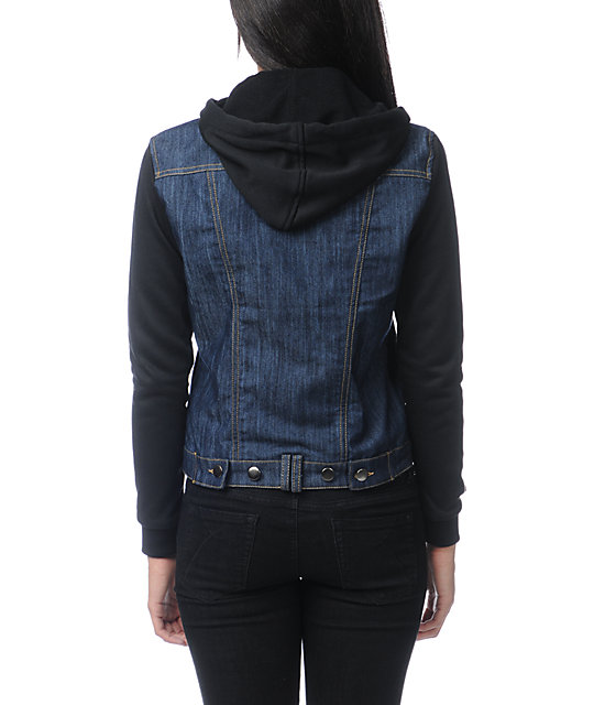 Thread and Supply Raw Jean Black Hooded Jacket
