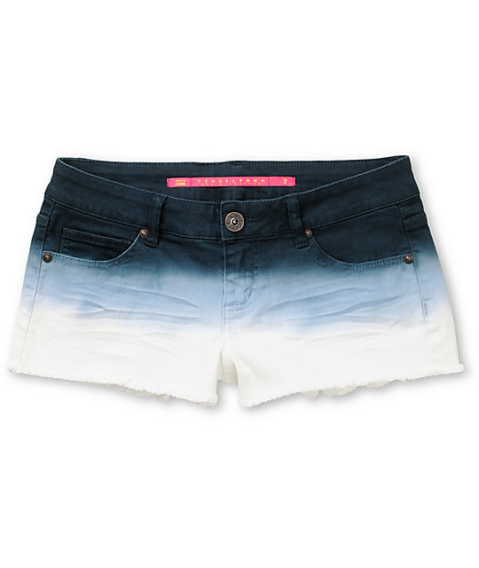 Tinsel Town Blue Dip Dye Ombre Cut Off Shorts