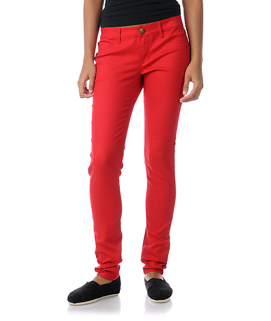 Tinsel Town Engine Red Skinny Twill Pants at Zumiez : PDP