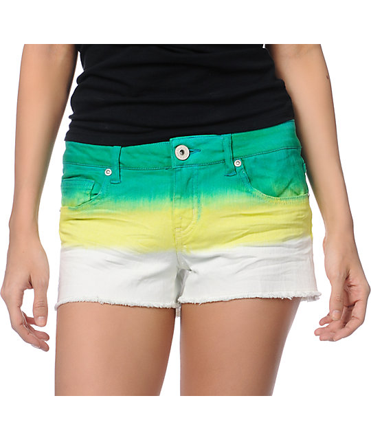 Tinsel Town Green Dip Dye Cut Off Denim Shorts
