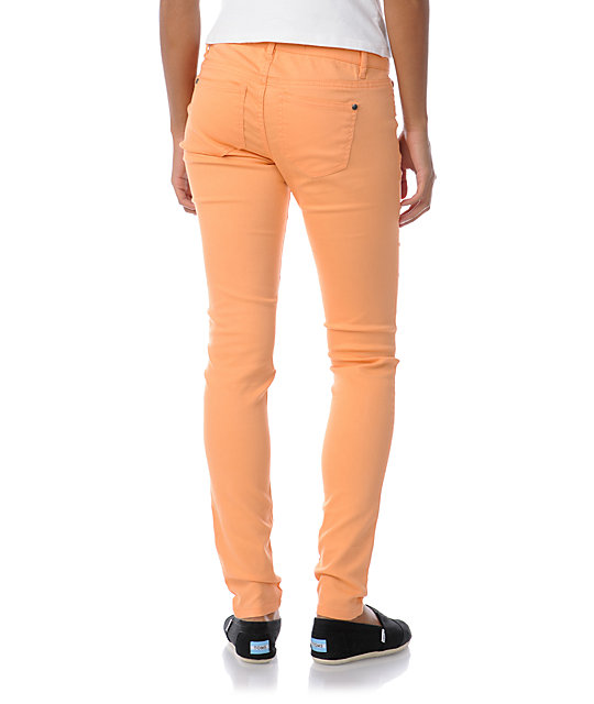 Tinsel Town Sorbet Orange Skinny Twill Pants