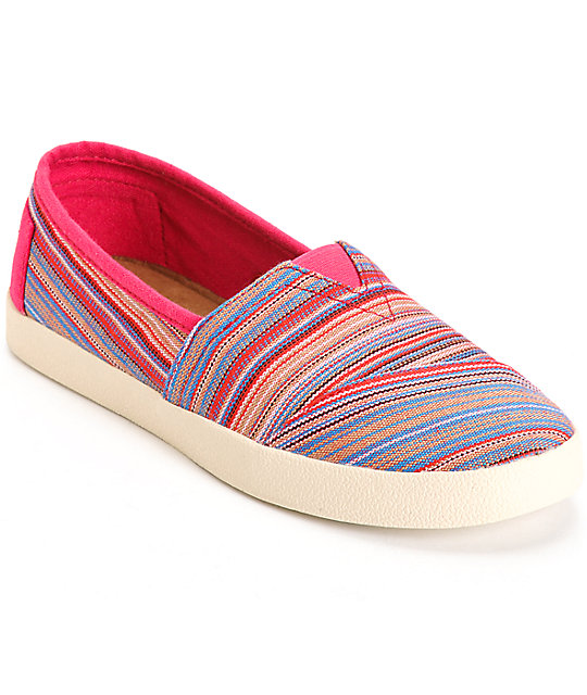 Toms Avalon Raspberry Stripe Woven Women s Shoes