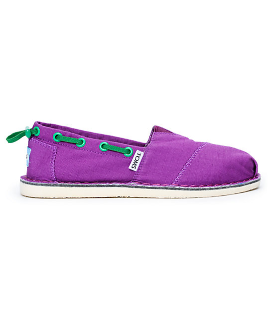 Toms Bimini Stitchout Womens Purple Canvas Shoes