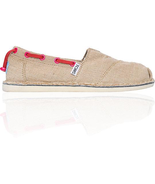 Toms Bimini Stitchout Womens Tan Burlap Shoes