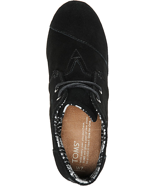 Toms Black Suede Desert Wedge Shoes