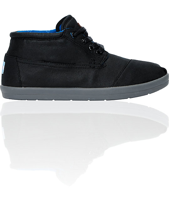 Toms Botas Highlands Black Waxed Canvas Mid-Top Shoes