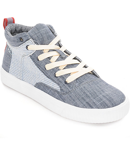 Toms Camila High Grey Suede Woven Womens Shoes