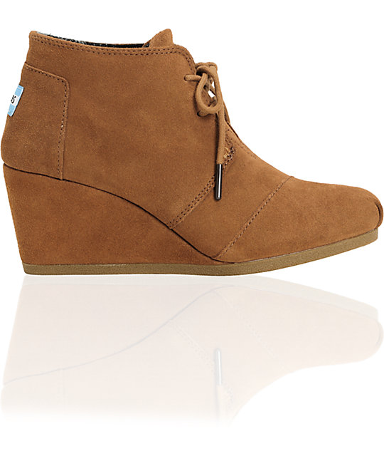 Toms Chesnut Suede Desert Wedge Shoes