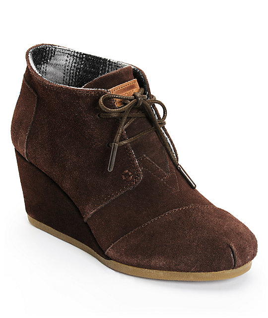 toms chocolate suede desert wedge shoes at zumiez pdp