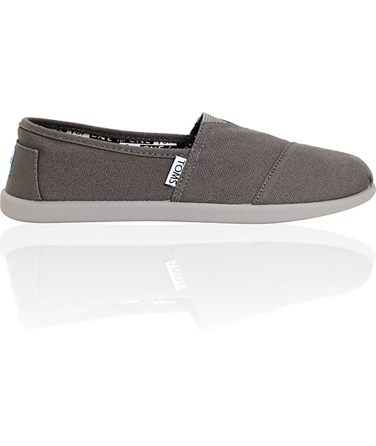 Toms Classic Ash Grey Canvas Slip-On Kids Shoes