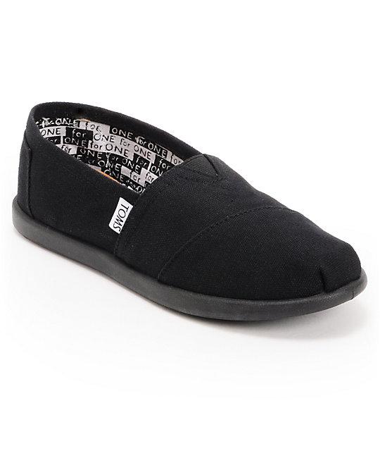 toms classic black canvas slip on boys shoes
