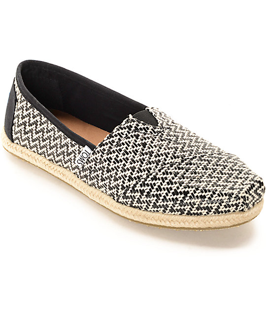 Toms Classic Black Woven & Rope Sole Shoes