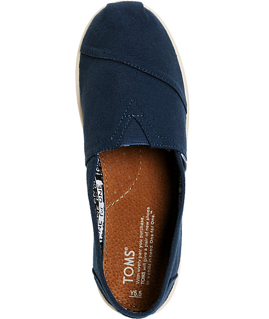 Toms Classic Navy Blue Canvas Slip-On Kids Shoes