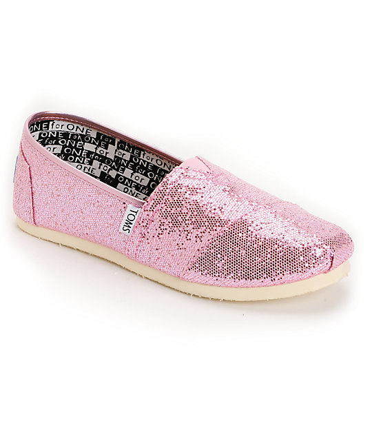 Toms Classic Pink Glitter Canvas Slip-On Kids Shoes