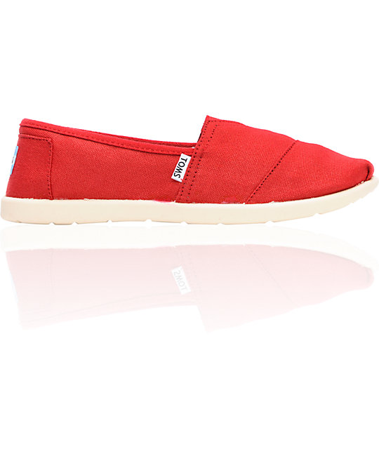 Toms Classic Red Canvas Slip-On Boys Shoes