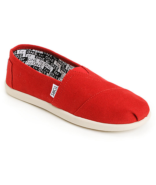 Toms Classic Red Canvas Slip-On Kids Shoes