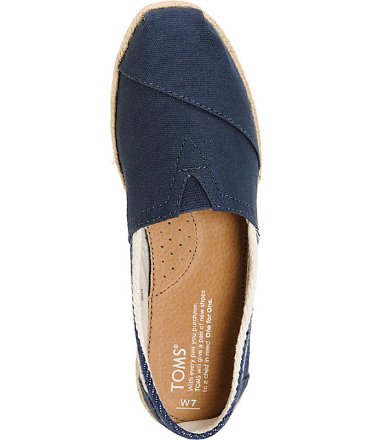 Toms Classic University Navy Stripe Women's Shoes