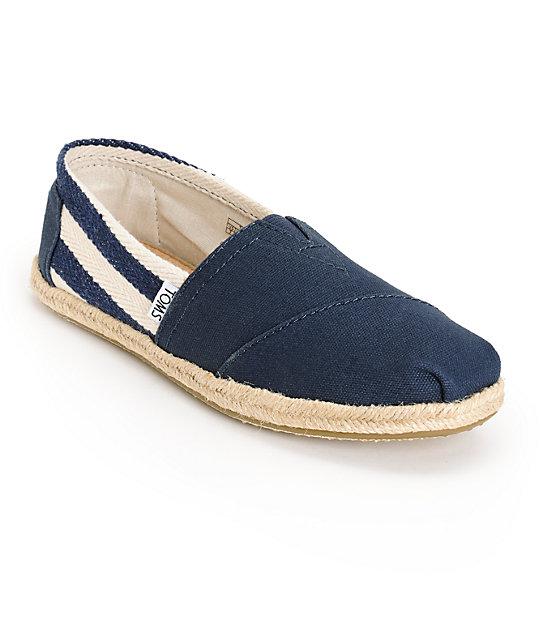 Toms Classic University Navy Stripe Women's Shoes