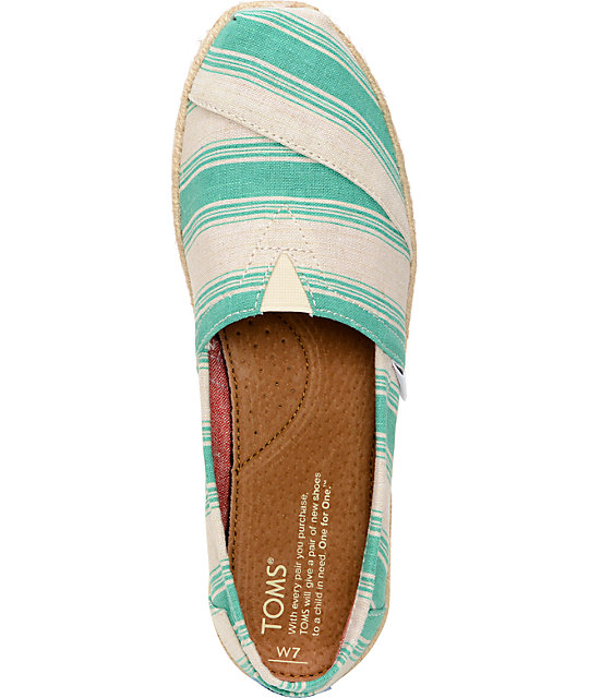 Toms Classics Aqua Umbrella Stripe Womens Slip On Shoes
