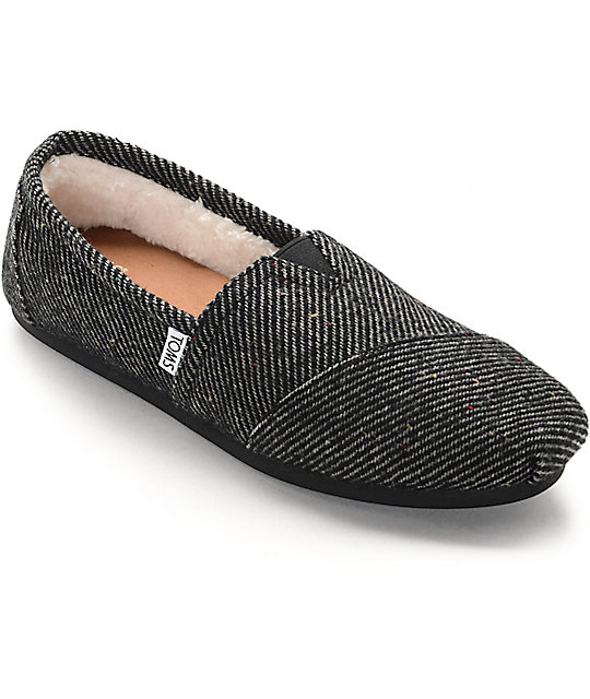 toms classics black white speckled wool shearling