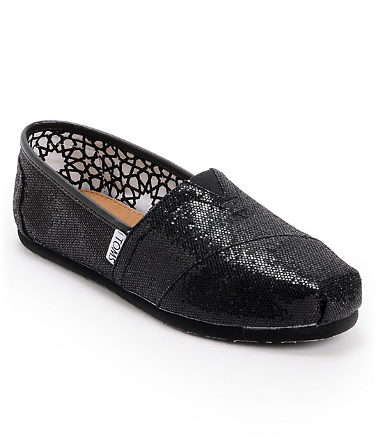 Toms Classics Black Glitter Womens Shoes