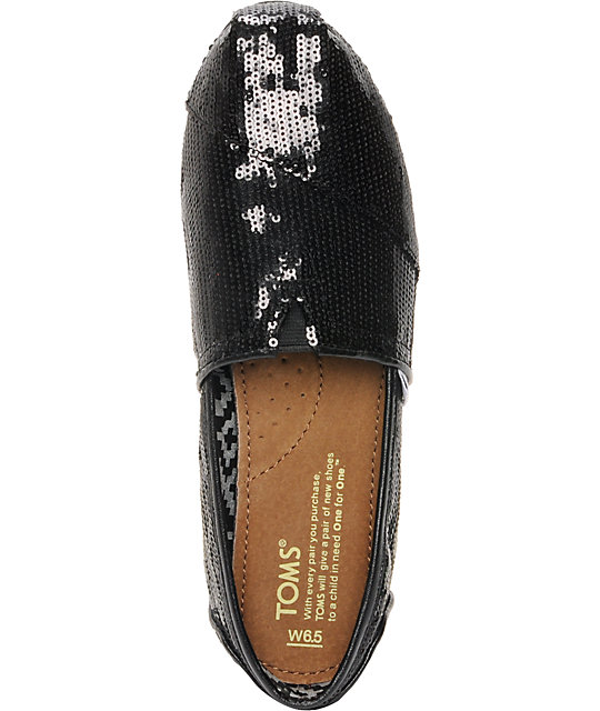 Toms Classics Black Sequins Womens Shoes