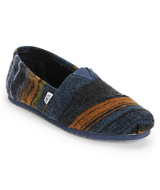 Toms Classics Blue Blanket Mens Slip On Shoes