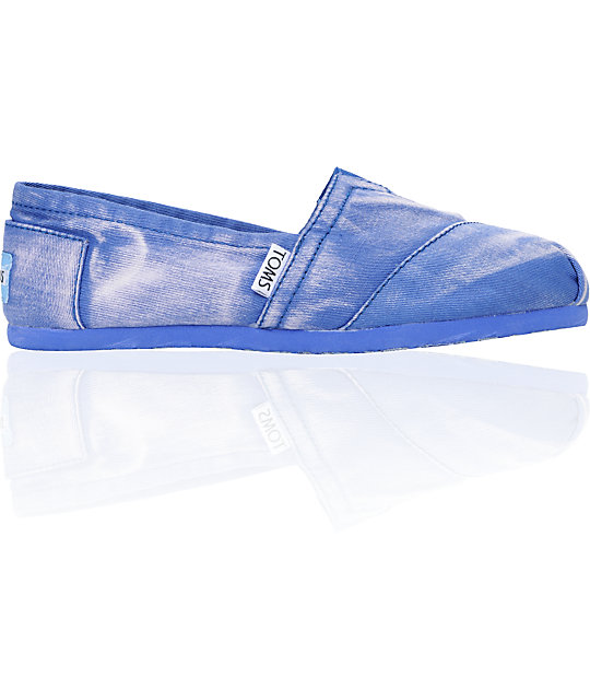 Toms Classics Blue Palmetto Canvas Womens Slip On Shoes