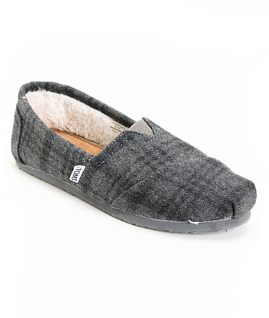 Toms Classics Bray Grey Plaid Wool Womens Shoes