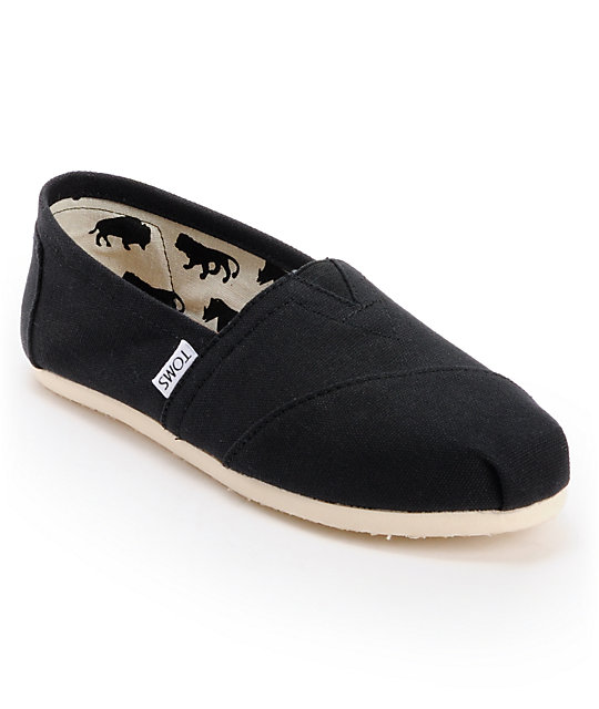 Toms Classic Canvas Black Flat Shoes