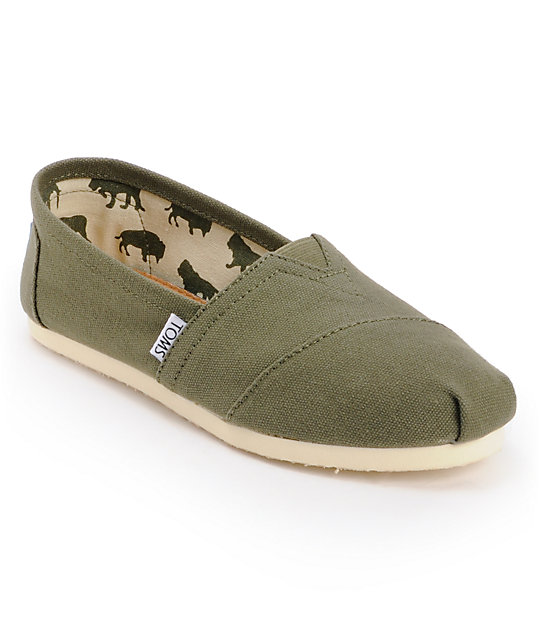 Toms Classics Canvas Olive Slip-On Womens Shoes