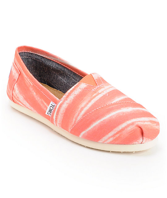 Toms Classics Coral Stripe Womens Slip On Shoes
