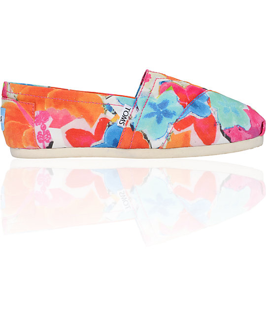 Toms Classics Corbel Print Canvas Womens Slip On Shoes