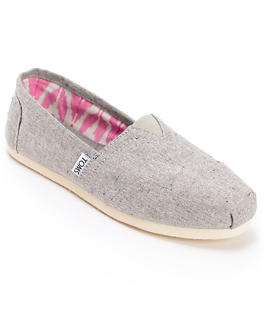 Toms Classics Earthwise Grey Vegan Womens Slip On Shoes