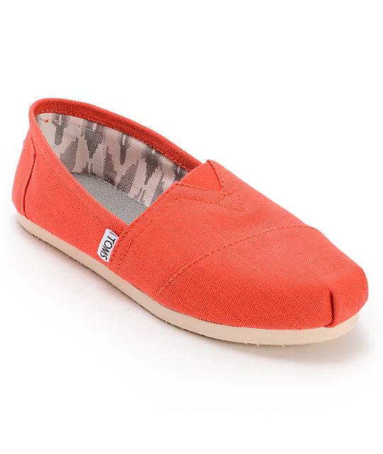 Toms Classics Earthwise Orange Vegan Womens Slip On Shoes