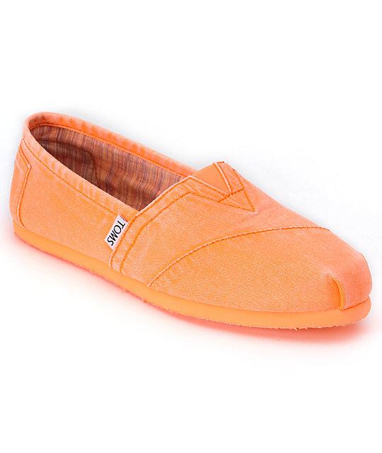 Toms Classics Fluorescent Orange Palmetto Canvas Womens Shoes