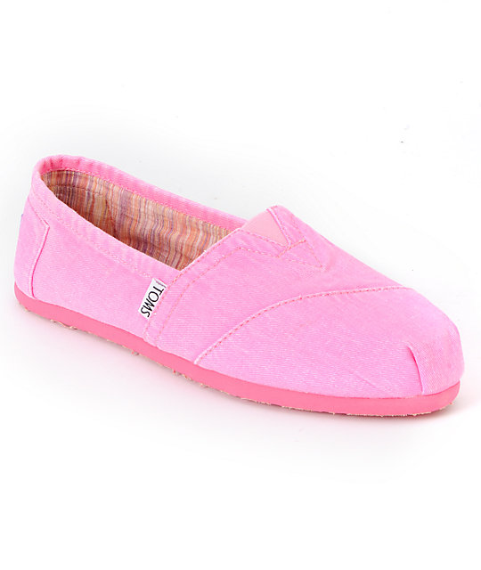 Toms Classics Fluorescent Pink Palmetto Canvas Womens Shoes