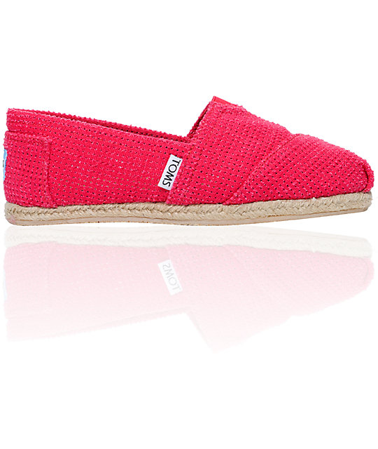 Toms Classics Freetown Perforated Fuchsia Canvas Womens Slip On Shoes