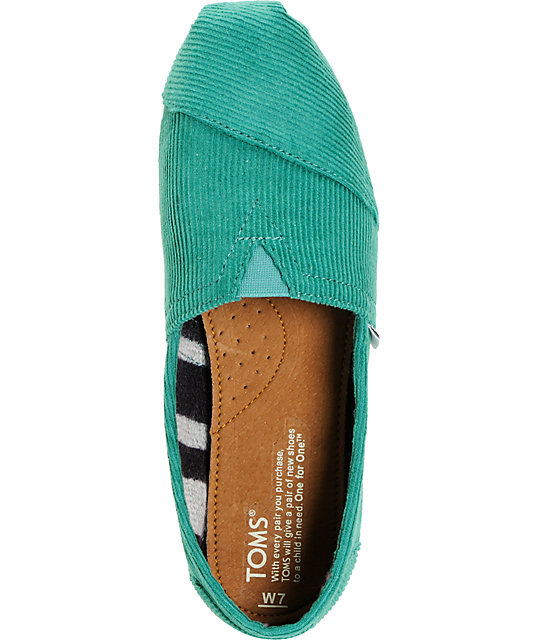 Toms Classics Green Corduroy Womens Shoes