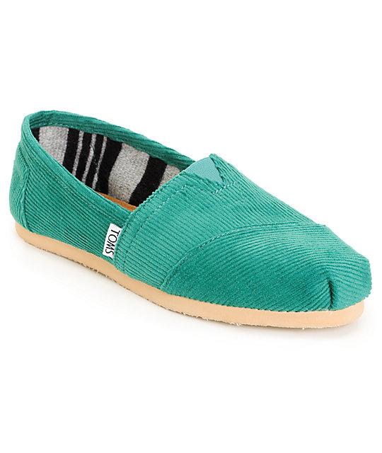 Toms Classics Green Corduroy Womens Shoes