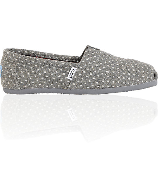 Toms Classics Grey & White Dot Womens Shoes