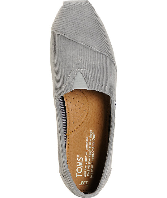 Toms Classics Grey Corduroy Womens Shoes