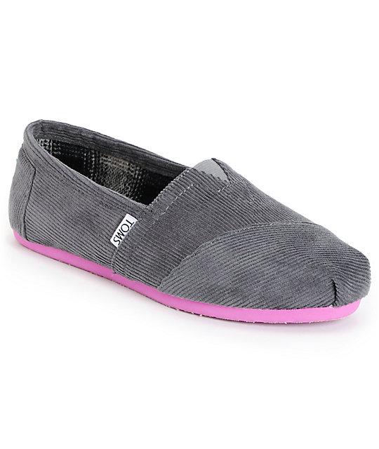 Toms Classics Grey Pop Corduroy Womens Shoes